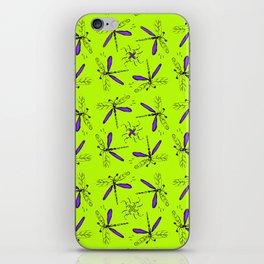 Purple Dragonflys On Lime Green Back iPhone Skin