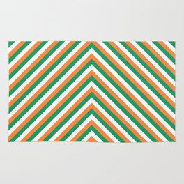 Orange White and Green Irish Chevron Stripe Rug