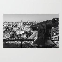 A coin operated scope and the Porto Cityscape, Porto, Portugal Rug