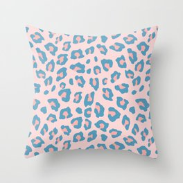 Leopard Print - Peachy Blue Throw Pillow