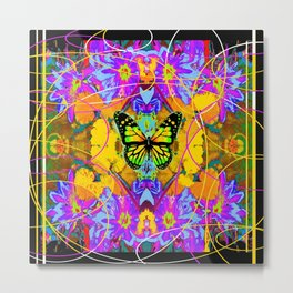 Monarch Butterfly Garden Abstract Metal Print