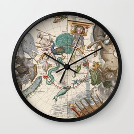 Old Constellation Map Year 1693 Wall Clock