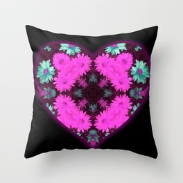 Mandala Flower Love Heart Throw Pillow