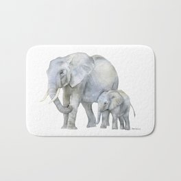 Mother and Baby Elephants Bath Mat