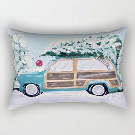Blue vintage Christmas woody car with pine tree Rectangular Pillow