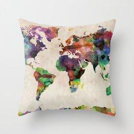 World Map Urban Watercolor Throw Pillow