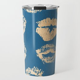Metallic Gold Lips in Orange Sherbet and Saltwater Taffy Teal Shimmer Travel Mug