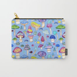 Watercolor Mushroom Pattern on Blue Carry-All Pouch