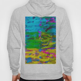 psychedelic graffiti painting abstract in blue yellow green pink Hoody