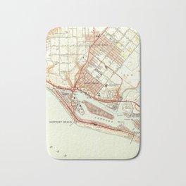 Vintage Map of Newport Beach California (1951) Bath Mat