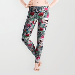 Flowers and Skulls (Pink) Leggings