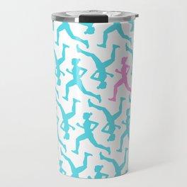 Running Girl Pastel Pattern Travel Mug