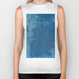 13-Miami Florida 1950, blue vintage map Biker Tank
