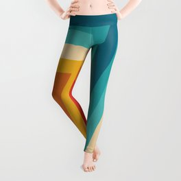 Colorful Retro Stripes  - 70s, 80s Abstract Design Leggings