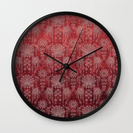 Victorian Potpourri - Faded Splendor Damask - RUBY Wall Clock