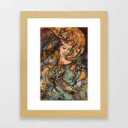Warrior woman - inspired by Art Nouveau style Framed Art Print