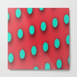 Teal Poka Dots on Strawberry Red Metal Print