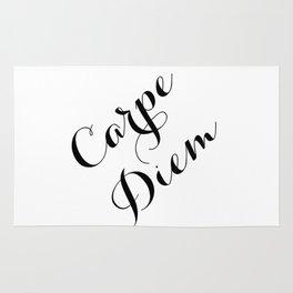 Carpe Diem Script Typography Rug