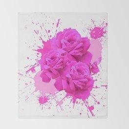 CERISE PINK ROSE PATTERN WATERCOLOR SPLATTER Throw Blanket