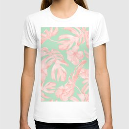Tropical Palm Leaves Hibiscus Pink Mint Green T-shirt