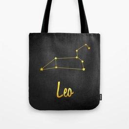 Leo Zodiac Constellation in Gold Tote Bag