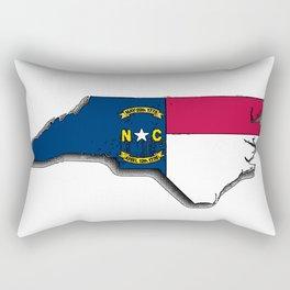 North Carolina Map with North Carolinian Flag Rectangular Pillow