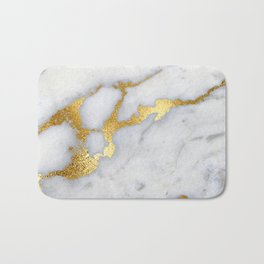 White and Gray Marble and Gold Metal foil Glitter Effect Bath Mat