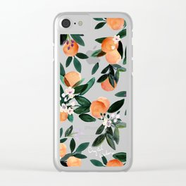 Dear Clementine - oranges teal by Crystal Walen Clear iPhone Case