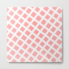 Coral Pink & White Diagonal Grid Pattern - Black & Pink - Mix & Match with Simplicity of Life Metal Print
