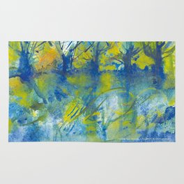 By the lake watercolor Rug