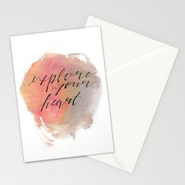 Explore Your Heart Watercolor Typography Stationery Cards