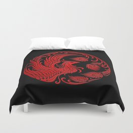Traditional Red and Black Chinese Phoenix Circle Duvet Cover