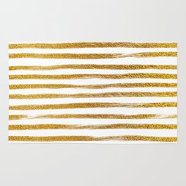 Squiggly Gold Foil Brush Stroke Hand-Painted Lines on White Rug