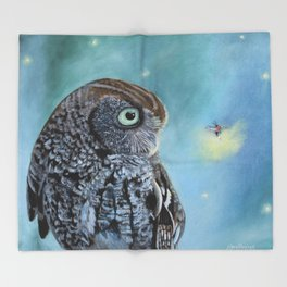 Owl and Lightning Bugs Throw Blanket