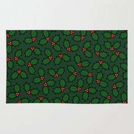 Holly Leaves and Berries Pattern in Dark Green Rug