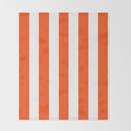 Orioles orange - solid color - white vertical lines pattern Throw Blanket