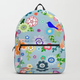 Whimsical Spring Flowers in Blue Backpack