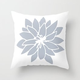 Flower Bluebell Blue on White Throw Pillow