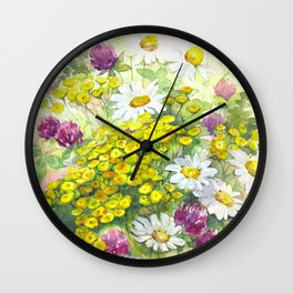 Watercolor meadow flowers spring Wall Clock