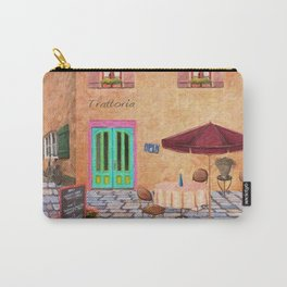 Trattoria Square – Italy – Painting by Liane Wright Carry-All Pouch