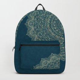 Rose Gold Marble Mandala Turquoise Textured Backpack