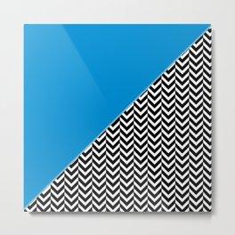 Chevron and Blue Metal Print