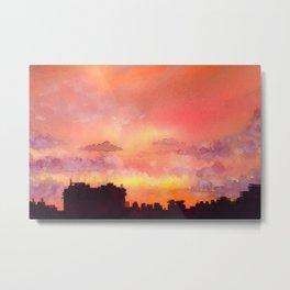 Minsk sunset skyline in watercolours Metal Print