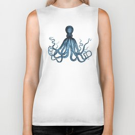 Octopus coastal ocean blue watercolor Biker Tank