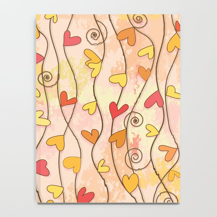 Heart and Spiral Botanic Pattern III - Fall Love Notebook