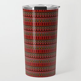 Aztec Tribal Motif Pattern in Red Mustard Salmon and Charcoal Travel Mug