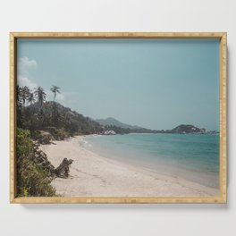 Beautiful white sands of the paradise beach in Parque Tayrona on the Caribbean coast of Colombia Serving Tray