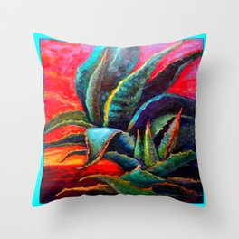 WESTERN DESERT BLUE AGAVE Throw Pillow