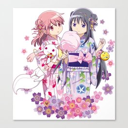 Madoka Kaname & Homura Akemi - Love Yukata edit. Canvas Print