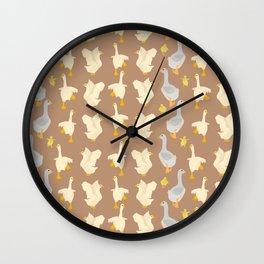 Ducks in a row Wall Clock